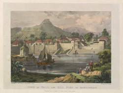 'Town ...Wall, and Hill Fort of Pandoghar'.   Plate 3 from Eight Most Splendid Views of India, sketched by an Officer in the Indian Army, drawn and printed by Baron A Friedel, London, 1833.